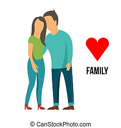 familia, con, amor,