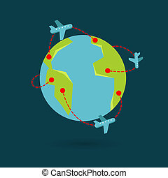 Vector earth travel illustration Around the world travelling...