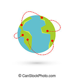 Vector earth travel illustration. Around the world...