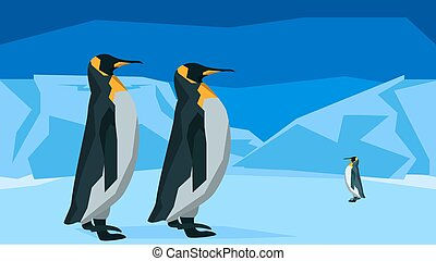 Penguins at the South Pole, seamless, animal, nature - The...