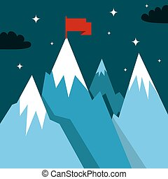 Mountain landscape in flat - Mountain landscape with winner...