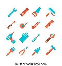 Tools icons set Outline style Elements for print, mobile and...