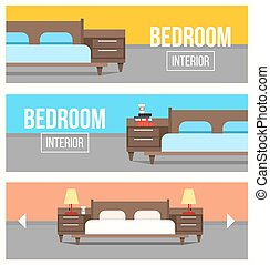 Bedroom interior design banners.