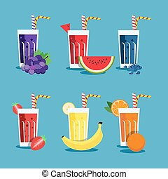 Fresh smoothies set - Smoothie set with fruits. Menu element...