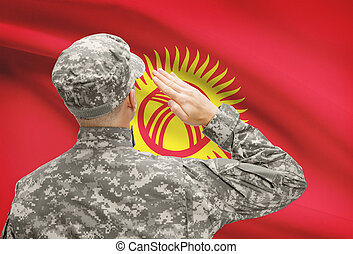 Soldier in hat facing national flag series - Kyrgyzstan -...