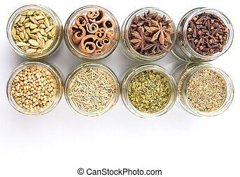 Herbs and Spices - Cardamom, star anise, cinnamon, clove,...