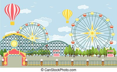 Amusement park Vector flat illustration
