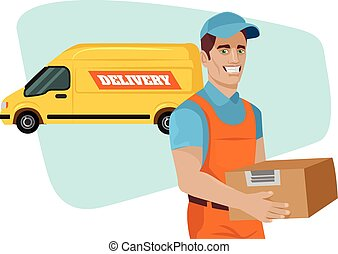 Delivery service. Vector flat cartoon illustration