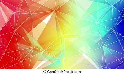 abstract triangle geometrical colorful background loop -...