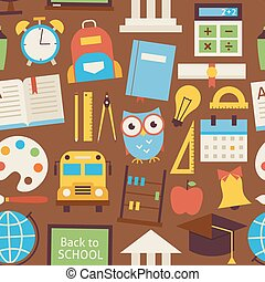 Flat Seamless Pattern Back to School and Education Objects over Brown