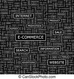 E-COMMERCE. Seamless pattern. Word cloud illustration.