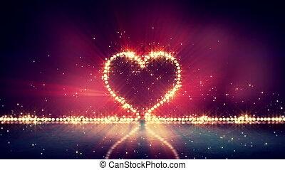 heart shape glowing lights loop background - heart shape...