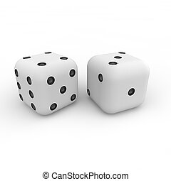 Game cubes on a white background - Game white cubes with...