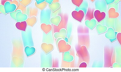 multicolor hearts falling loopable background