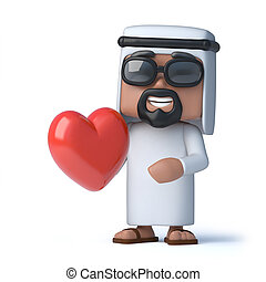 3d Arab is in love - 3d render of an Arab holding a red...