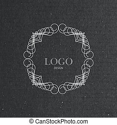 ornate art-deco frame on cardboard texture - vector...