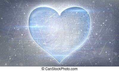 heart shape neon glowing on metal loop background