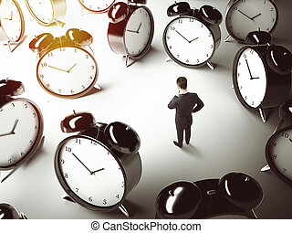 man thinking - businessman thinking and many big clock on...