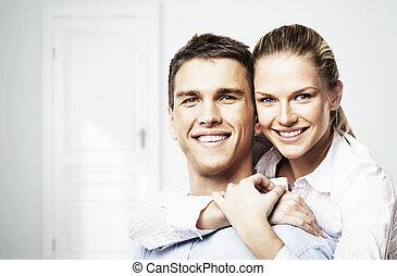 sonriente, hombre, y, mujer,