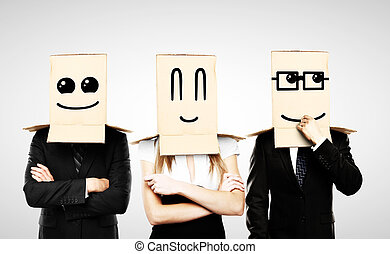 smiling box on head - men and woman with smiling box on head