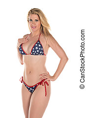 Stars and Stripes - Beautiful tall blonde in a Stars and...