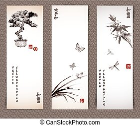 Banners with bonsai tree, butterflies, bamboo - Banners with...