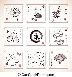 Traditional Japanese elements - Collection of elements...