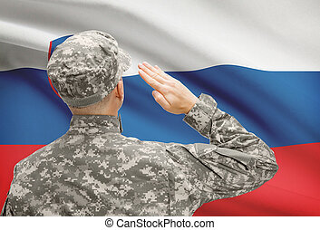 Soldier in hat facing national flag series - Slovenia -...