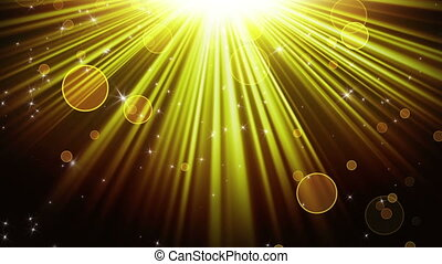 gold rays of light and stars loopable background - gold rays...