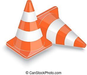 traffic cone - two striped orange traffic cone on a white...