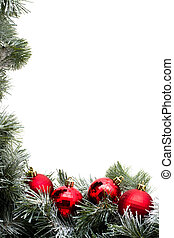 Garland Border - A green garland border with Christmas balls...