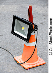 LED floodlight mounted on cone