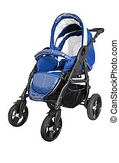 baby carriage isolated on white - blue baby carriage...
