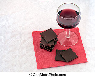 Red wine and chocolate on napkin,serviette. - Healthy heart...