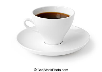 beverage cup of black coffee isolated on white