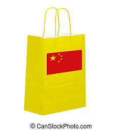 Yellow paper carrier bag featuring Chinese flag, isolated on...