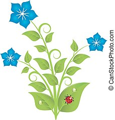 blue flowers with leaves and swirls