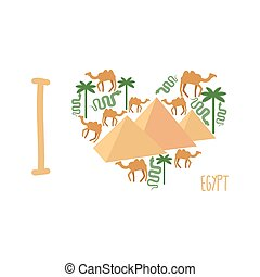 I love Egypt Symbol of heart of countrys attractions:...