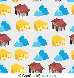 Seamless pattern of Switzerland. Bank and cheese. Vector...