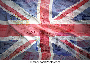 colorful waving british flag on a english pound sterling...