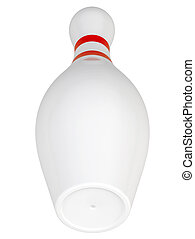 Bowling pin with red stripes on isolated white background