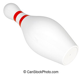 Bowling pin with stripes on isolated white background