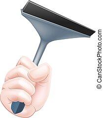 Cartoon Squeegee Hand - A cartoon hand holding a squeegee