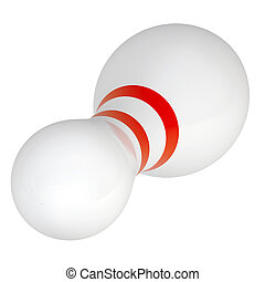 Bowling pin with stripes on isolated white background, top...