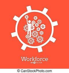 Workforce design over orange background, vector illustration