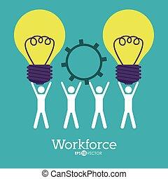 Workforce design over blue background, vector illustration