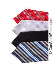 Side by Side Ties - Close up top view of colorful men ties...