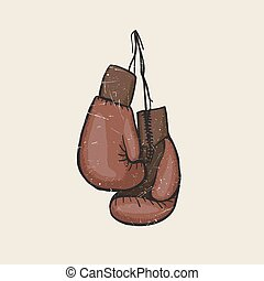 Boxing gloves on a nail vector illustration