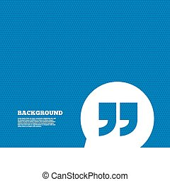 Quote sign icon. Quotation mark symbol. - Background with...