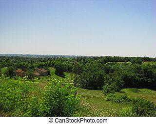 Landscape, Biron, Perigord - Perigord, Qurecy, in Southwest...